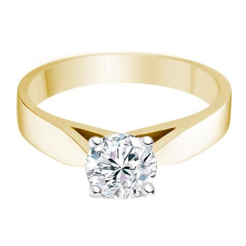 -Manufacturers-Bague-de-fiancailles-avec-diamant-Rond-Femme-Or-jaune ...