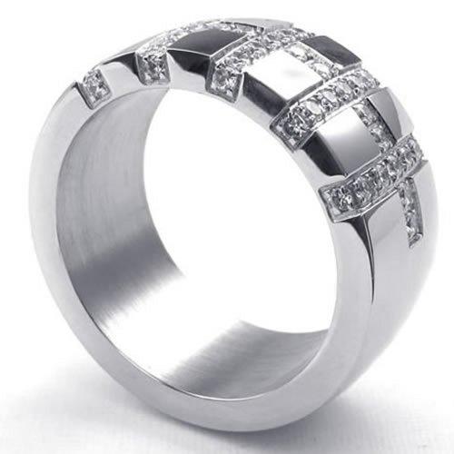 konov bijoux bague homme fian ailles oxyde de zirconium acier inoxydable anneaux. Black Bedroom Furniture Sets. Home Design Ideas